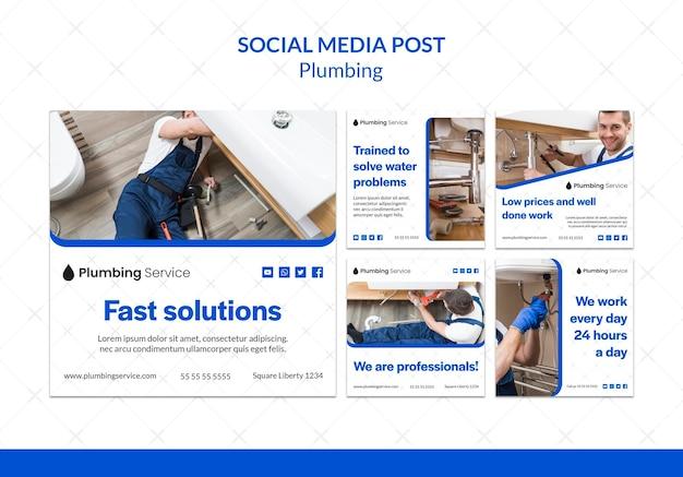 Plantilla de publicación de redes sociales de plomería PSD gratuito