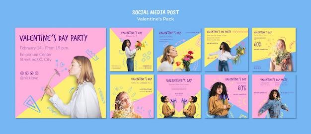 Plantilla de publicación de redes sociales de san valentín PSD gratuito