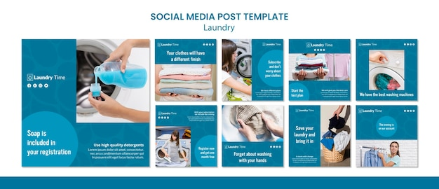 Plantilla de publicación de redes sociales de servicio de lavandería PSD gratuito