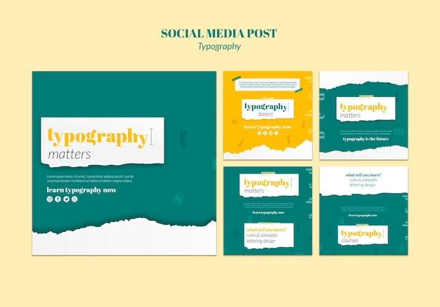 Plantilla de publicación de redes sociales de servicio de tipografía PSD gratuito