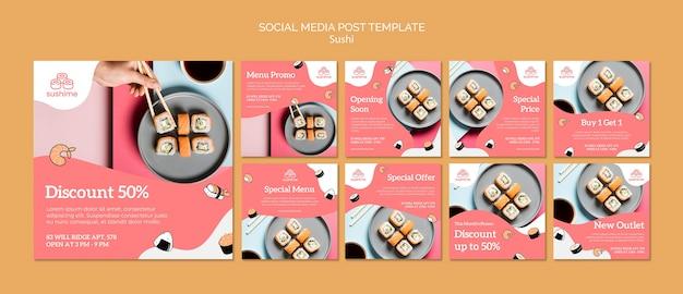Plantilla de publicación de redes sociales de sushi PSD gratuito
