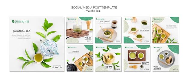 Plantilla de publicación de redes sociales de té matcha PSD gratuito