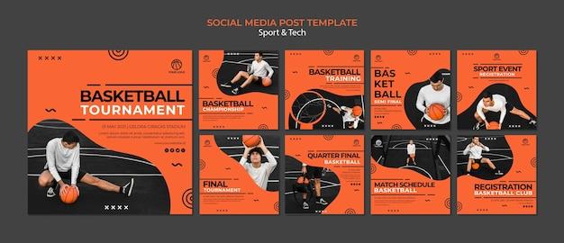 Plantilla de publicación en redes sociales de torneos de baloncesto PSD gratuito