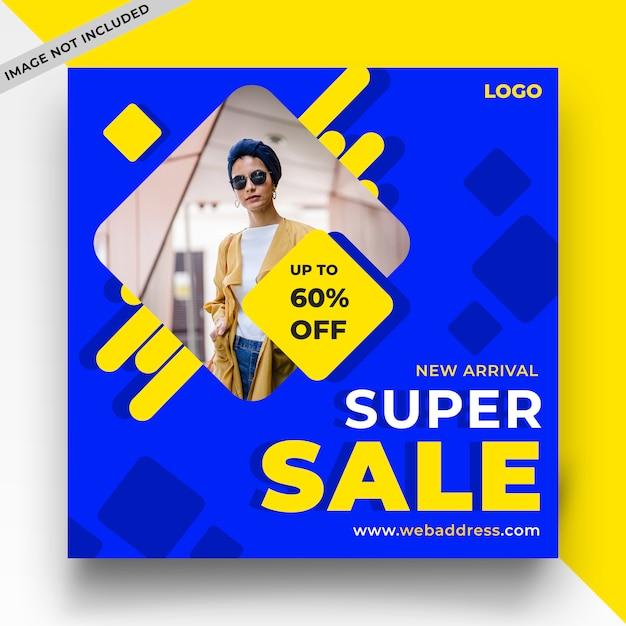 Plantilla de publicación de redes sociales de venta azul PSD Premium