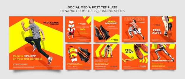 Plantilla de publicación de redes sociales de zapatillas para correr PSD Premium