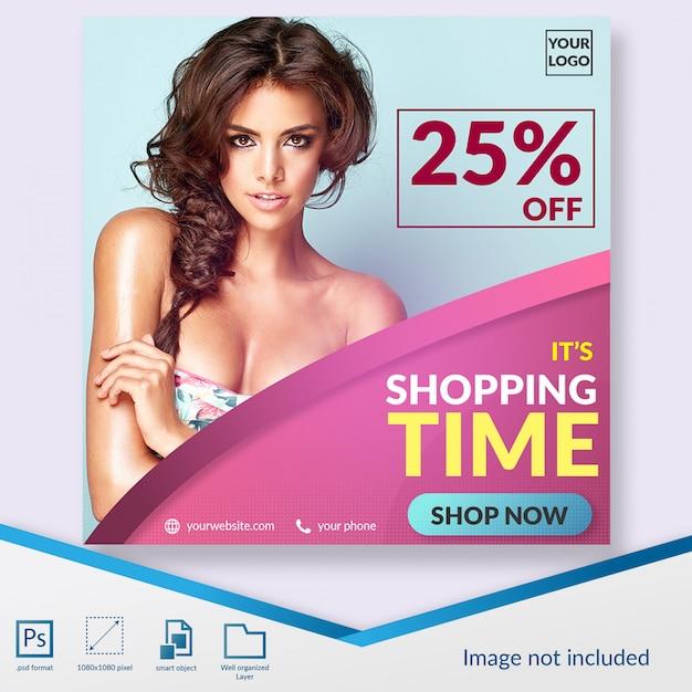 Plantilla de publicación de tiempo de compras en redes sociales PSD Premium