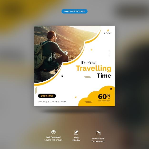 Plantilla de publicación de venta de redes sociales en tiempo de viaje premium psd PSD Premium