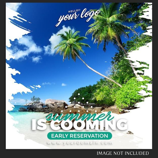 Plantilla de publicación de viajes de vacaciones de verano de instagram PSD Premium