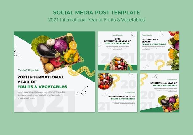 Plantilla de publicaciones de instagram del año internacional de las frutas y verduras PSD gratuito
