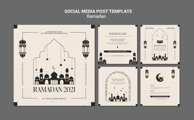 Plantilla de publicaciones de instagram de evento de ramadán PSD gratuito