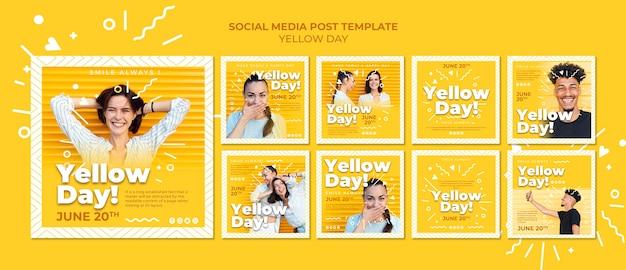 Plantilla de publicaciones de redes sociales del día amarillo PSD gratuito
