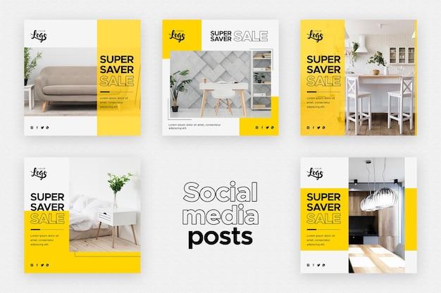 Plantilla de publicaciones en redes sociales con negocios de decoración del hogar PSD gratuito