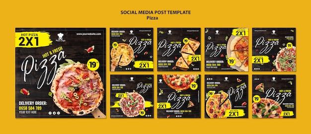 Plantilla de publicaciones en redes sociales de pizzerías PSD gratuito