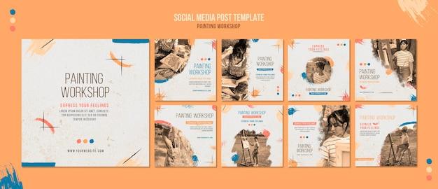 Plantilla de publicaciones de redes sociales de taller de pintura PSD gratuito