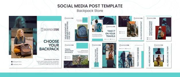Plantilla de publicaciones en redes sociales de la tienda de mochilas PSD gratuito