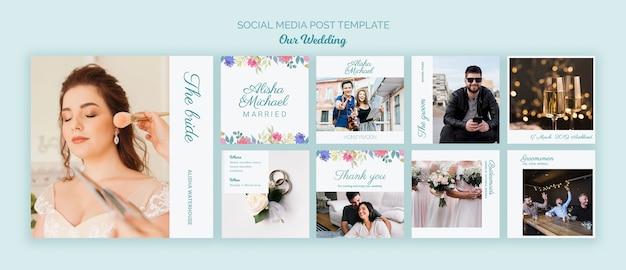 Plantilla de redes sociales colorido concepto de boda PSD gratuito