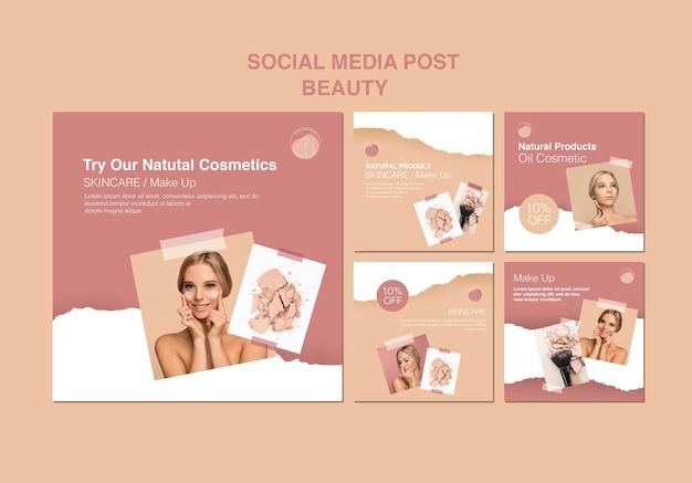 Plantilla de redes sociales de concepto de belleza PSD gratuito