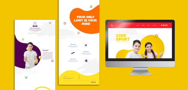 Plantilla de redes sociales deportivas para niños PSD gratuito