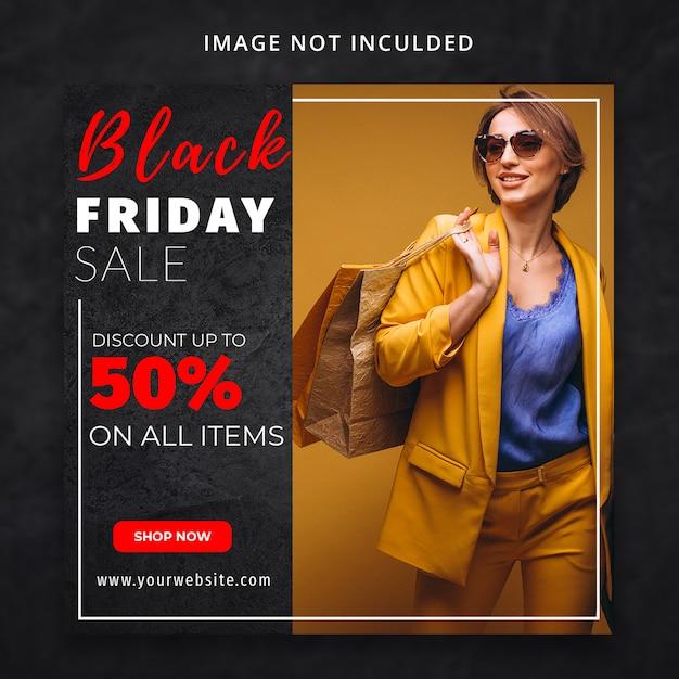 Plantilla de redes sociales de venta de moda de viernes negro PSD Premium