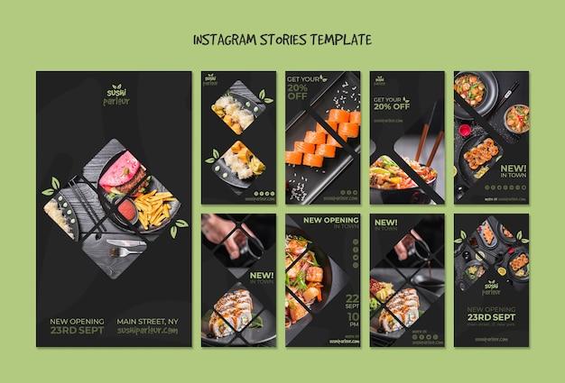 Plantilla de stories de instagram para restaurante japones PSD gratuito