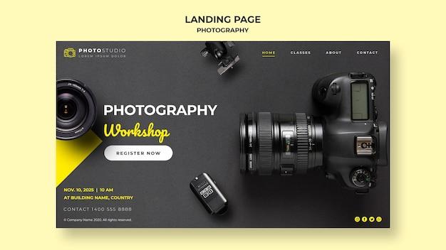 Plantilla de taller de fotografía de página de destino PSD gratuito