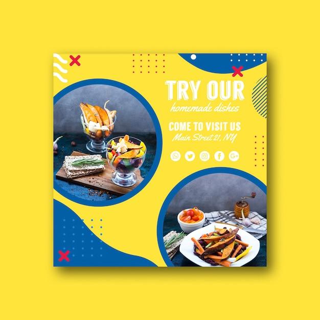 Plantilla de tarjeta cuadrada para restaurante en estilo memphis PSD gratuito