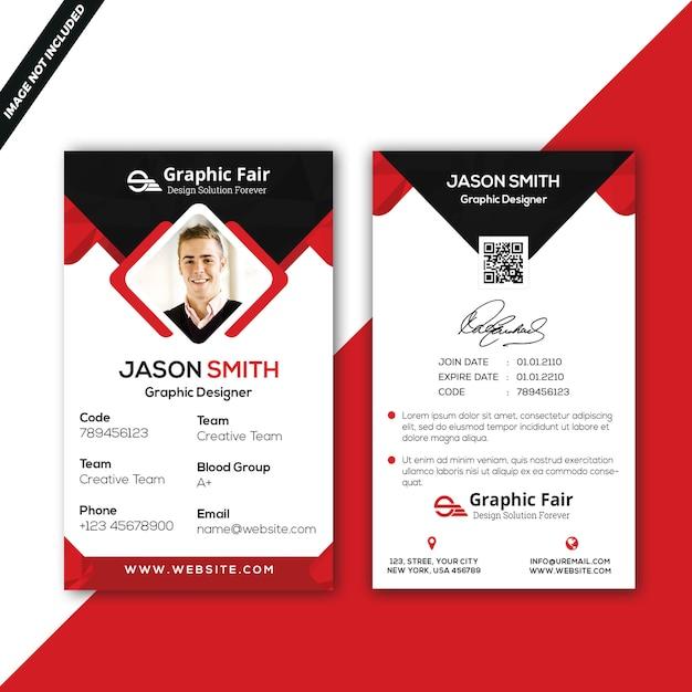 Plantilla de tarjeta de identificación PSD Premium