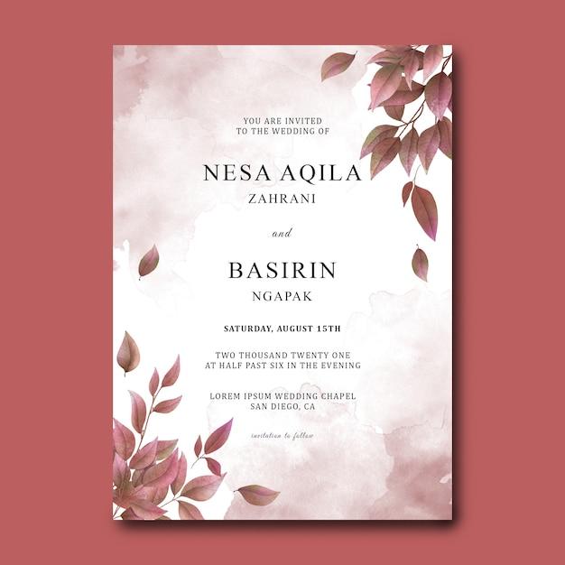 Plantilla de tarjeta de invitación de boda con decoración de hojas secas de acuarela PSD Premium