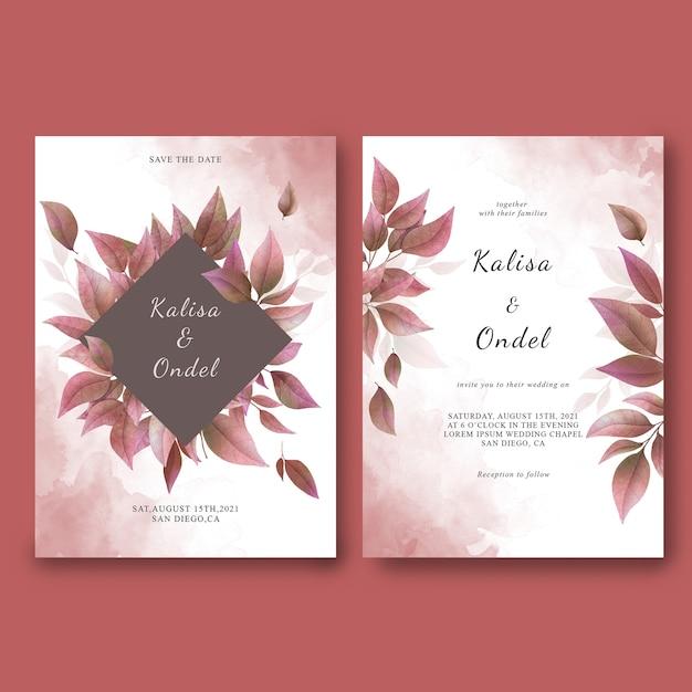 Plantilla de tarjeta de invitación de boda y guarde la tarjeta de fecha con hojas secas de acuarela PSD Premium