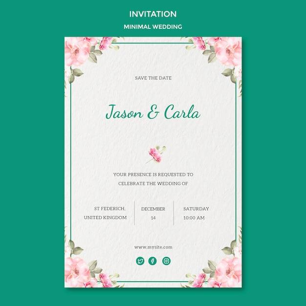 Plantilla de tarjeta de invitación con boda PSD gratuito