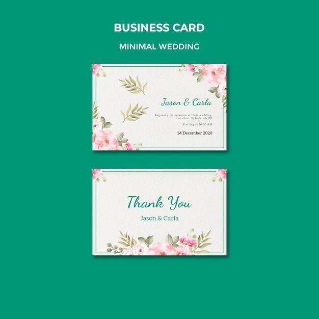 Plantilla de tarjeta de visita con boda PSD gratuito