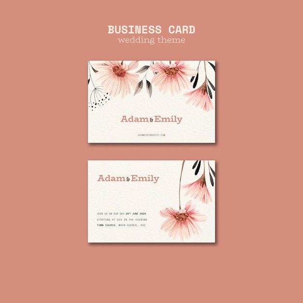 Plantilla de tarjeta de visita para bodas PSD gratuito
