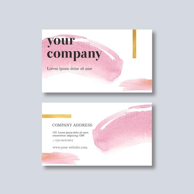 Plantilla de tarjeta de visita con brustrokes de acuarela PSD gratuito