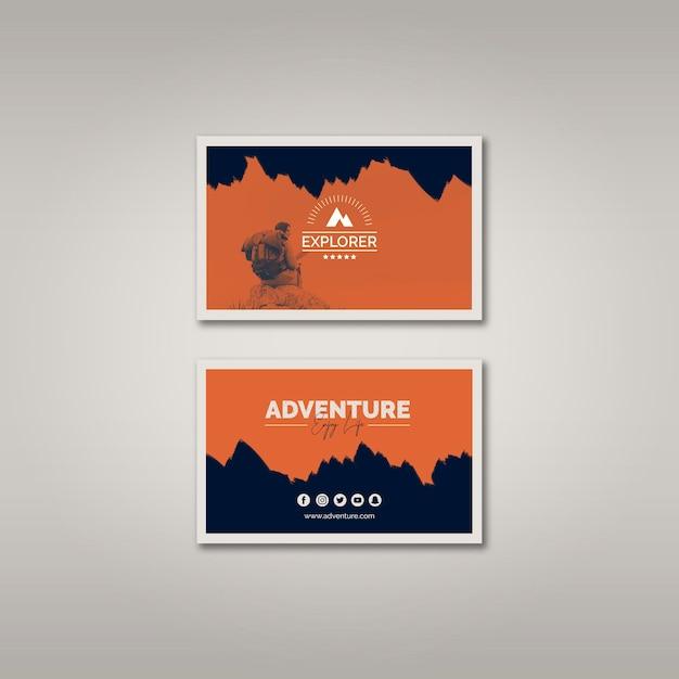 Plantilla de tarjeta de visita con concepto de aventura PSD gratuito