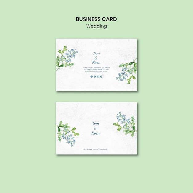 Plantilla de tarjeta de visita de concepto de boda PSD gratuito