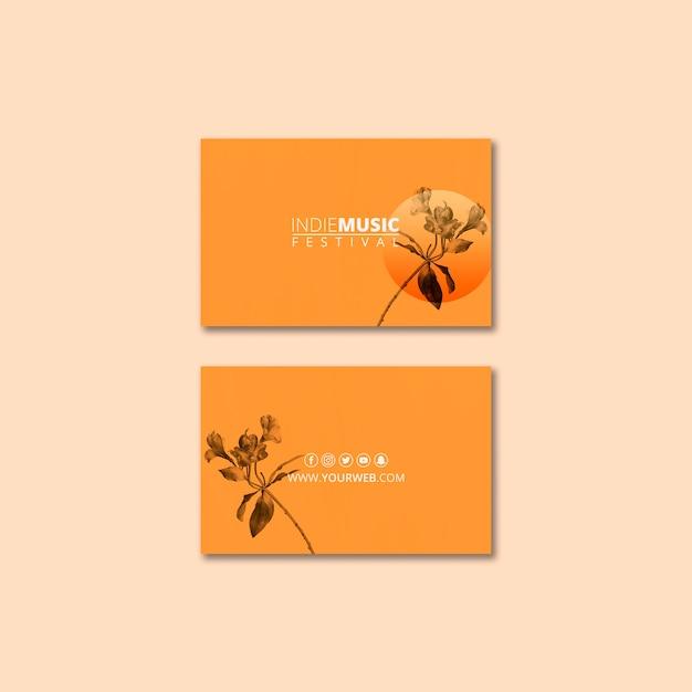 Plantilla de tarjeta de visita con concepto de festival de primavera PSD gratuito
