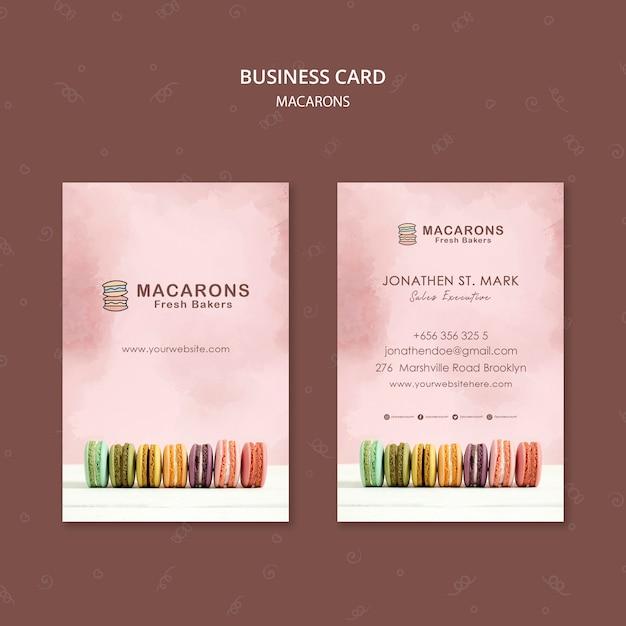 Plantilla de tarjeta de visita de concepto macarons PSD gratuito