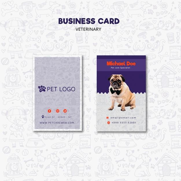 Plantilla de tarjeta de visita para el cuidado de mascotas PSD gratuito