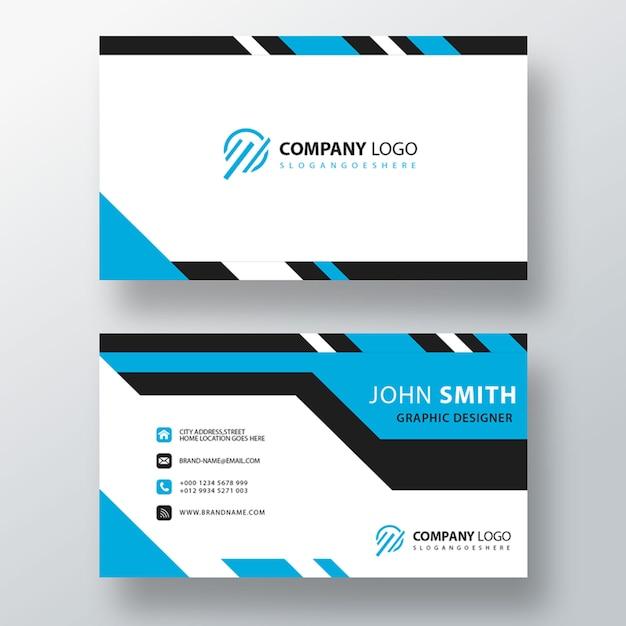 Plantilla de tarjeta de visita de diseño a rayas azules PSD gratuito