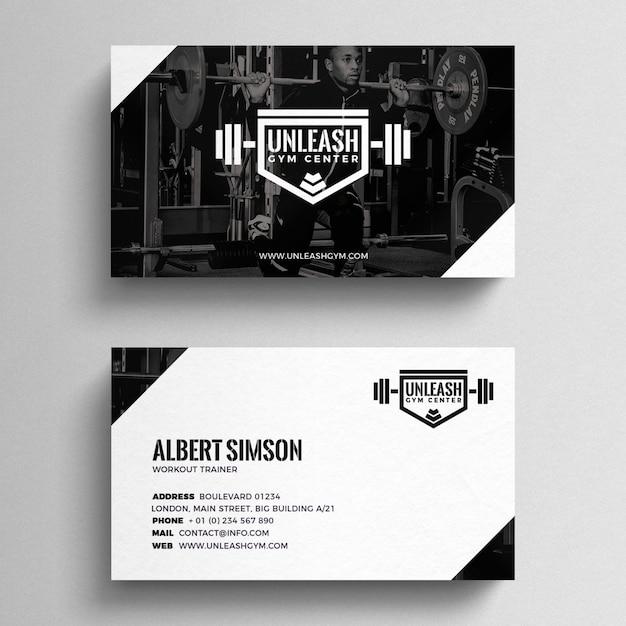 Plantilla de tarjeta de visita de fitness PSD gratuito