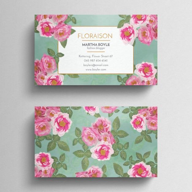 Plantilla de tarjeta de visita floral vintage PSD gratuito