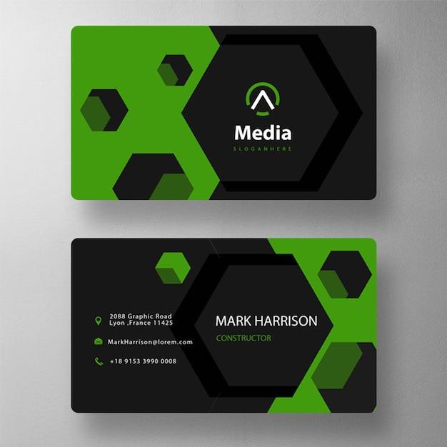 Plantilla de tarjeta de visita con forma hexagonal PSD gratuito