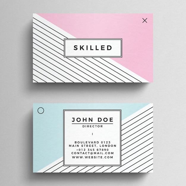 Plantilla de tarjeta de visita minimalista en colores pastel PSD gratuito