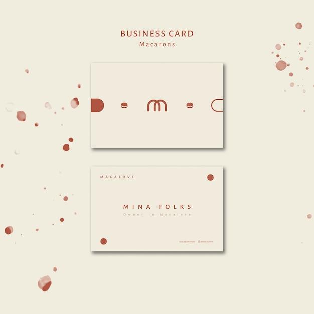 Plantilla de tarjeta de visita de la tienda macarons PSD gratuito