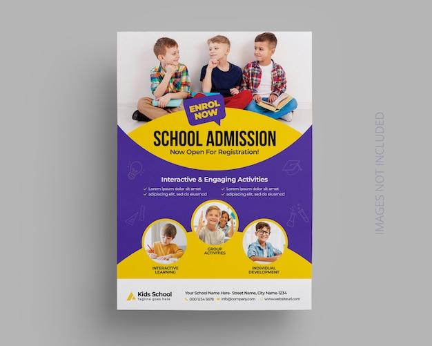 Plantilla de volante de admisión de educación escolar para niños PSD Premium