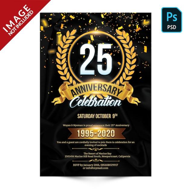 Plantilla de volante - celebración de aniversario PSD Premium