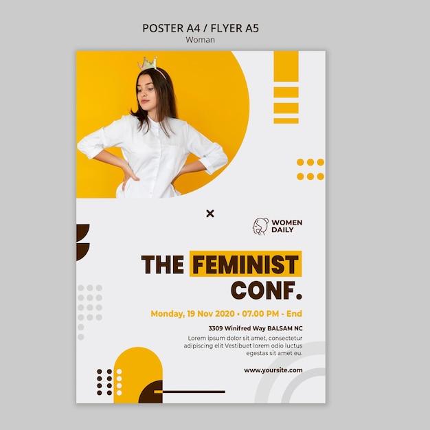 Plantilla de volante de conferencia de feminismo PSD gratuito