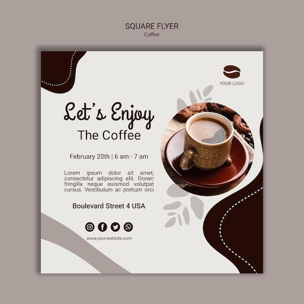 Plantilla de volante cuadrado café PSD gratuito