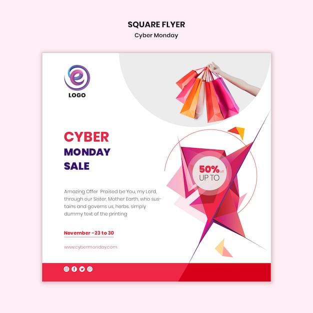 Plantilla de volante cuadrado de ciber lunes PSD gratuito