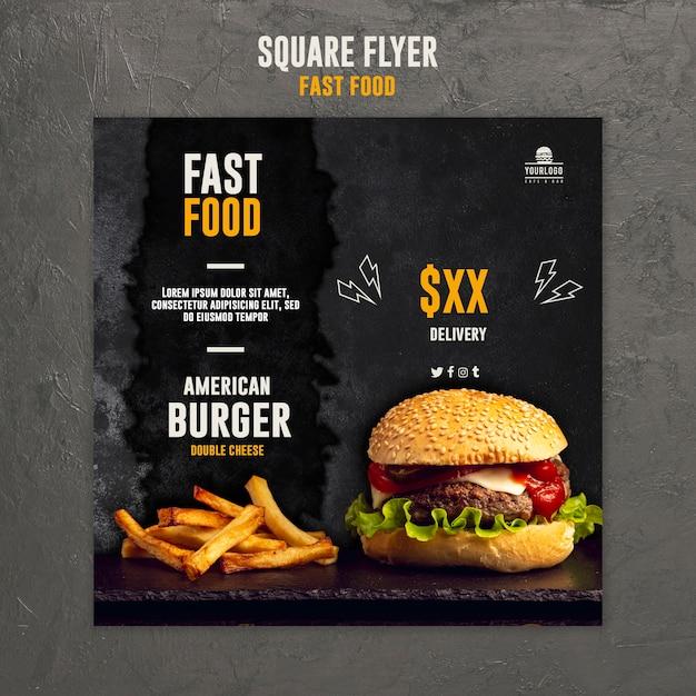 Plantilla de volante cuadrado de comida rápida PSD Premium